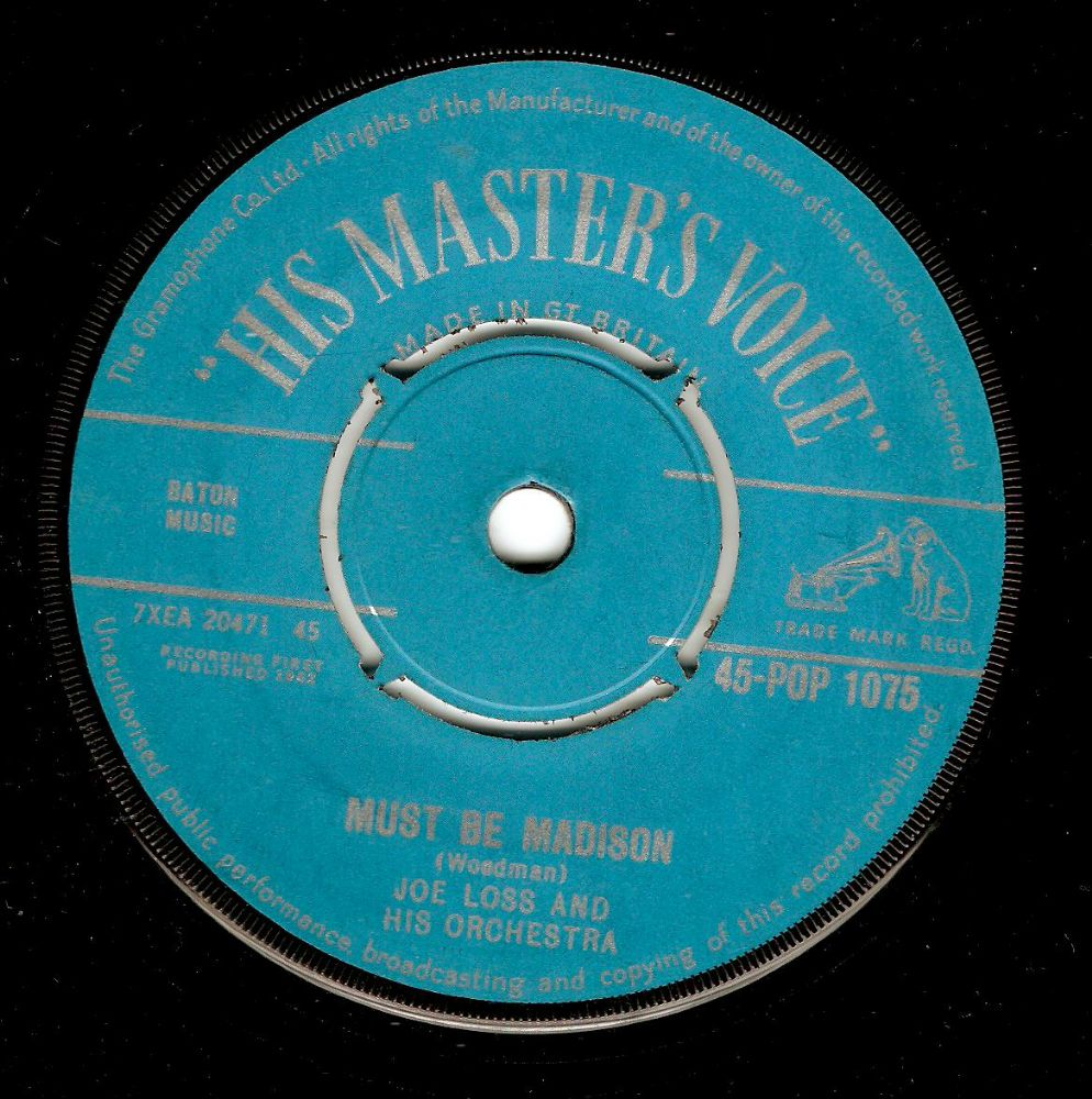 JOE LOSS Must Be Madison Vinyl Record 7 Inch HMV 1962